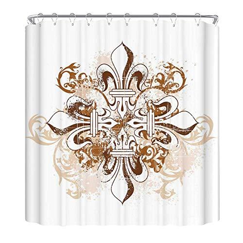 YOLIYANA Fleur De Lis The Shower Curtain,Ancient Antique Heraldry Cross Vintage Floral Swirls Traditional Old Fashion Utility Shower Curtain,70.8