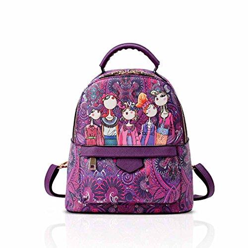 Nicole Backpack (NICOLE&DORIS New Girls Backpack Fairy Elves Patterns Casual Novel School Backpack Vintage Bag Purple)