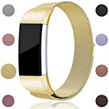 For Fitbit Charge 2 Bands, Maledan Stainless Steel Milanese Loop Metal Replacement Accessories Bracelet Strap with Unique Magnet Lock for Fitbit Charge 2 HR Gold Small