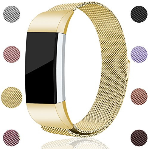 Maledan for Fitbit Charge 2 Bands, Stainless Steel Milanese Loop Metal Replacement Accessories Bracelet Strap with Unique Magnet Lock for Fitbit Charge 2 HR Gold Small