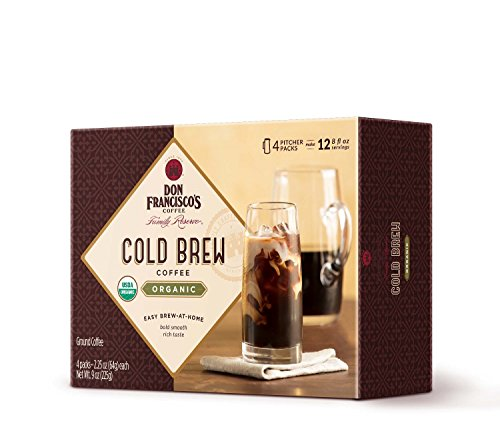 Don Francisco's Cold Brew Coffee, Organic 100% Arabica Beans, 4 Pitcher Packs (makes 2 pitchers)