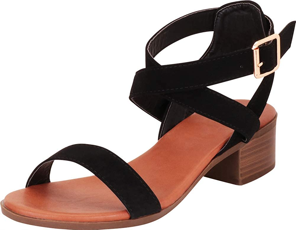 Cambridge Select Women's Crisscross Strappy Chunky Block Low Heel Sandal