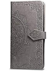 Oihxse Funda con OnePlus 8 Pro, Cuero PU Billetera Cierre Magnético Flip Libro Folio Tapa Carcasa Relieve Soporte Plegable Ranuras para Tarjetas Protección Caso(Gris)
