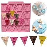 Yosoo 2Pcs Letter Flag Bunting Silicone Fondant Mold Cake Chocolate Decorating Chocolate Mould Baking