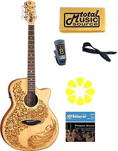 - LUNA Henna Oasis Spruce Acoustic Electric Guitar, HEN 02 SPR PACK
