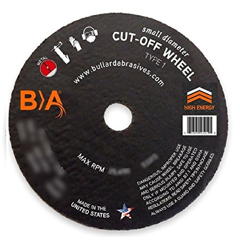 (50) Bullard 93403 (4 x 1/32) ZA60T Type 1 Small Diameter Cut-Off Wheels for Straight Shaft Air/Electric Tools. Professional Grade. 3/8'' Arbor. 19000 Rpm. For stainless steel and high tensile alloys. by Bullard Abrasives
