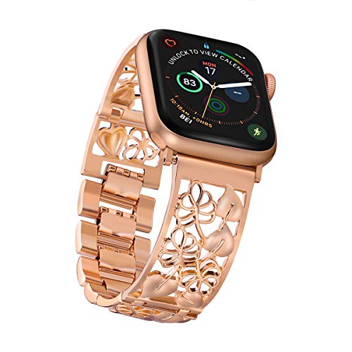 Compatible Apple Watch Band 38mm Rose Gold Women, Fresheracc Floral Hollow out Replacement Straps, Feminine Wristband Compatible iPhone iWatch Nike,Sports, Series 3 / 2 / 1