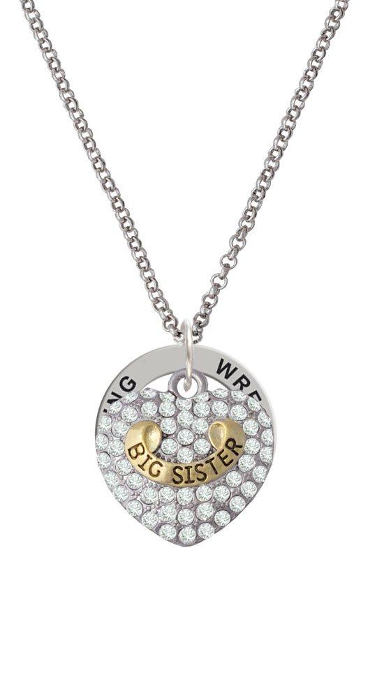 Gold Tone Big Sister Rock on Clear Crystal Heart - Wrestling Affirmation Ring Necklace