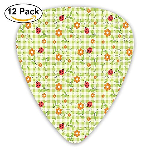 Flowers Ladybugs Leaves On Summer Striped Background Baby Cute Motif Guitar Picks 12/Pack Set