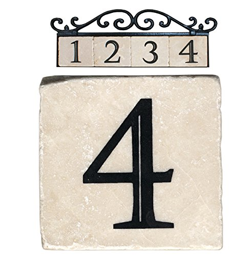 Nach az classic house address number tiles 4 marble for Classic house numbers