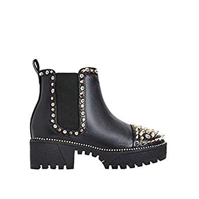 a1cbe12585de Michelle Parker Cape Robbin Spiky Rager Black Vegan Leather Gold Spikes  Platform Chelsea Bootie (9