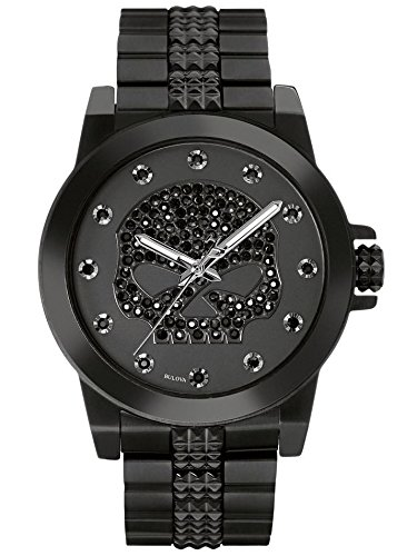 Harley-Davidson Womens Bulova Watch, Crystal Willie G. Skull, Stainless 78L120