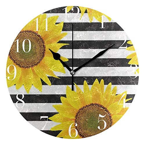 Black Striped Clock - Dozili Black White Striped Sunflower Round Wall Clock Arabic Numerals Design Non Ticking Wall Clock Large for Bedrooms,Living Room,Bathroom