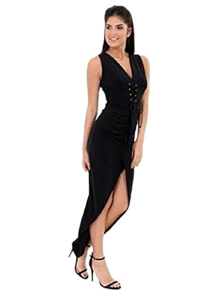 Womens Cocktail Dress Eyelet Corset Plunge V Neck Wrap Over Belt Maxi Dresses UK [Stylewise