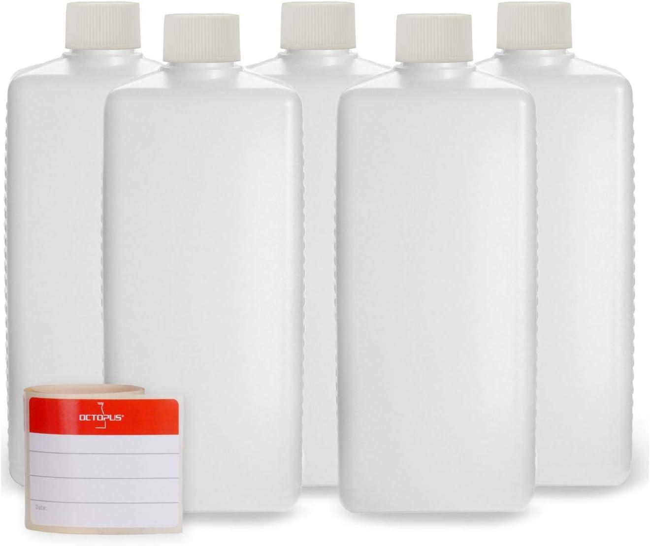 5 botellas de plástico de Octopus de 500 ml, botellas de plástico de HDPE con blanco tapones de rosca, botellas vacías con tapas de blanco rosca, botellas rectangulares con 5 etiquetas para marcar