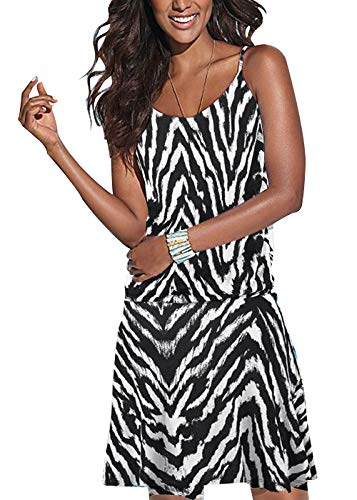 (Jusfitsu Women's Summer Casual Dress Strappy Cotton Midi Beach Dresses Print Flare Beachwear Stretchy Zebra L)