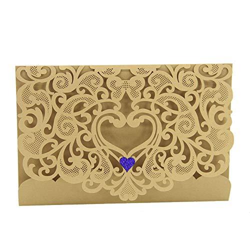 Yu2d  20 Pcs Delicate Carved Romantic Wedding Party Invitation Card Envelope ( Beige) -