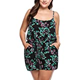 IN'VOLAND Womens Plus Size Cute Beach Floral Print Romper Summer Sexy Spaghetti Strap Sleeveless Party Jumpsuit