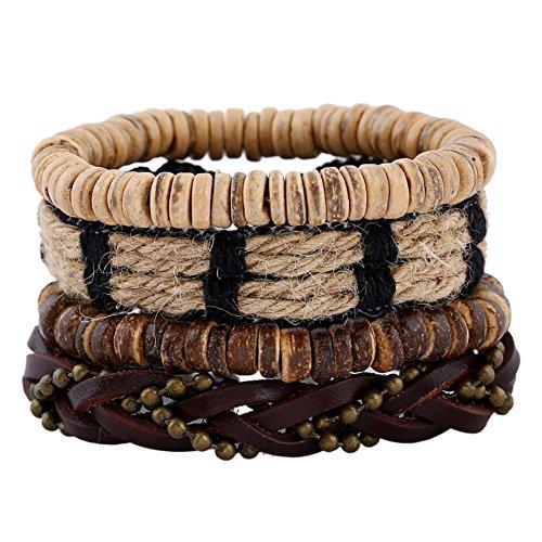 Soleebee Unisex Punk Retro PU Leather Hemp Cords Multi-Stands Wristband with Beads Pure Handmade Bracelets Set of 4 (Style 7)