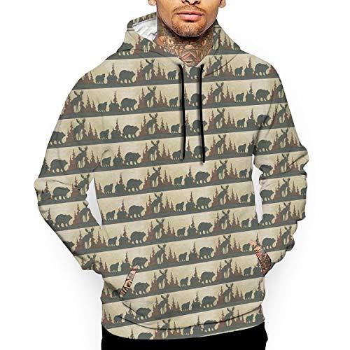 Moose Bear Man's Hooded Sweatshirt Hoodie Long Sleeve