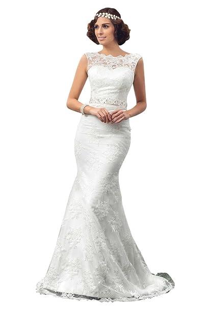 Clocolor playa vestido de novia para las mujeres encaje Scoop sirena Plus Size novia fiesta blanco