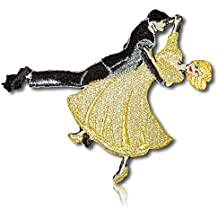 "[1 Count Single] Custom and Unique (3 1/4"" x 3 1/2"" Inch) ""Hobby"" Dancing Couples Dance Ball Room Dancers Rhumba Cha-Cha Salsa Samba Foxtrot Charleston Iron On Embroidered Applique Patch {Multicolor}"