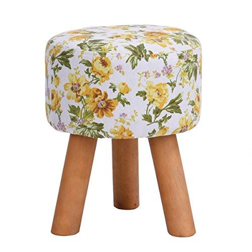 (HOMY CASA Fabric Foot Stool Garden Flower Style Ottoman Wood Legs Round Sofa Footstool Foot Rest with Fabric Cushion Pad (Yellow))