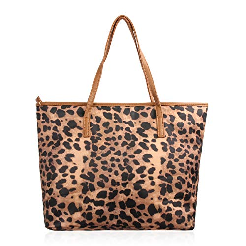 (Versatile Fabric Tote Bag - Eco Shopper Beach Canvas Reusable Travel Handbag Stripe/Animal/Flag Print (Leopard Shopper))
