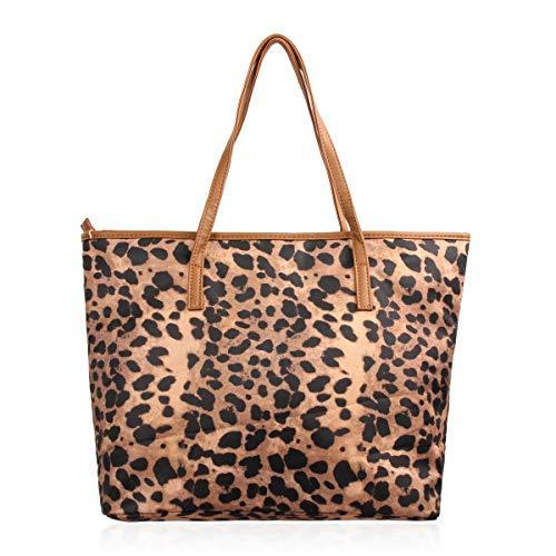 Versatile Fabric Tote Bag - Eco Shopper Beach Canvas Reusable Travel Handbag Stripe/Animal/Flag Print (Leopard Shopper)