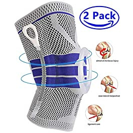 Knee Brace Compression Sleeve, Elastic Knee Wraps Patella Stabilizer with Silicone Gel Spring Support, Hinged Kneepads Protector for Meniscus Tear Arthritis Running Men Women (Medium)