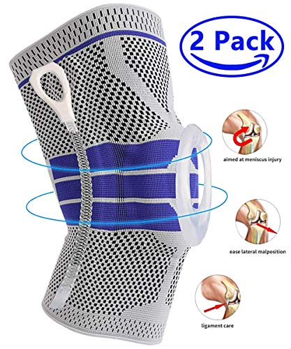 Knee Brace Compression Sleeve, Elastic Knee Wraps Patella Stabilizer with Silicone Gel Spring Support, Hinged Kneepads Protector for Meniscus Tear Arthritis Running Men Women M