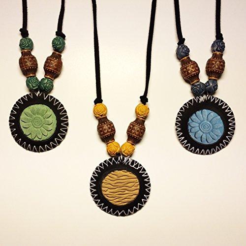Terracotta Neck Pendant Diffuser ~ Zenkuki green flower aromatherapy essential oil fragrance