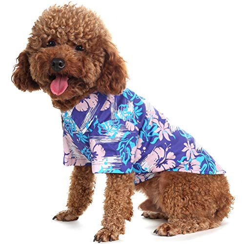 EXPAWLORER Dog Hawaiian T-Shirt Classic Polo Collars with Fashion Print Pattern Summer Essential Parent-Child Clothing Recommended Blue Small]()