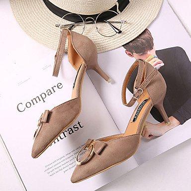 Primavera Confort de 4 negro comodidad US6 PU 2A caqui mujeres UK4 talón hebilla poca EU36 pulg 3 2 Sandalias CN36 Stiletto Casual dXqtXw