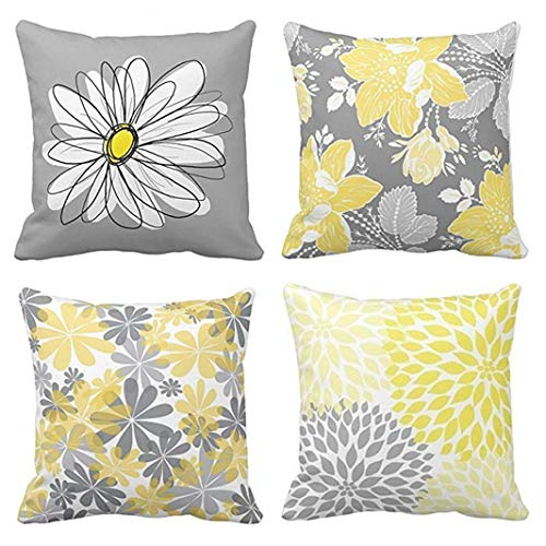 Emvency Set of 4 Throw Pillow Covers Gray and Yellow Modern Daisy with Pretty White Floral Hand Decorative Pillow Cases Home Decor Square 16x16 Inches ()