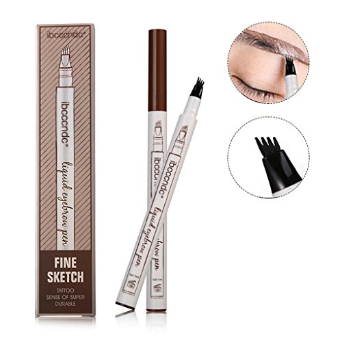 brow Pen with Four Tips Long-lasting Waterproof Brow Gel for Eyes Makeup (A Chestnut)) (Tip Eye)