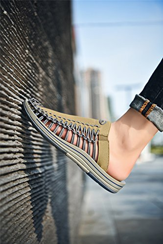 XUE Men's Shoes Knit Summer Comfort/Light Soles Sandals/Slippers & Flip-Flops Walking Shoes Outdoor Office Beach Shoes (Color : A, Size : 44) C