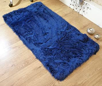 Charming Royal Blue Navy Faux Fur Oblong Rectangle Sheepskin Rug 70 X 140 Cm Washable