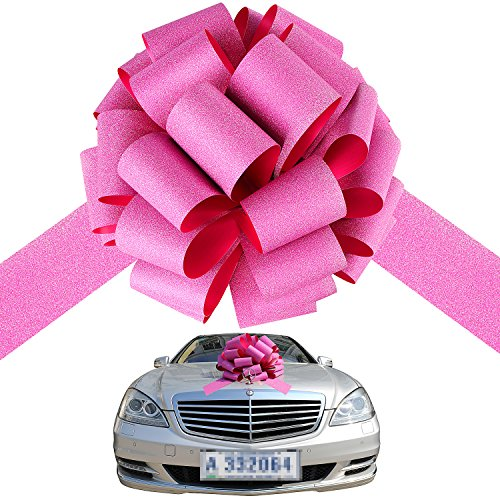 Big pink car bow ribbon pull bows presents large christmas bows automobile bow, thick giant ribbon tie waterproof for cars & huge gifts - Presents Wrap Do How You