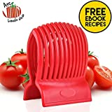 Multiuse Tomato Slicer Holder with Firm Grip Ergonomic 13 Dividers Design for Precise Cuts Slicing Shredding Tomatoes Lemons Potatoes Round Fruits Vegetables with Bonus eBook