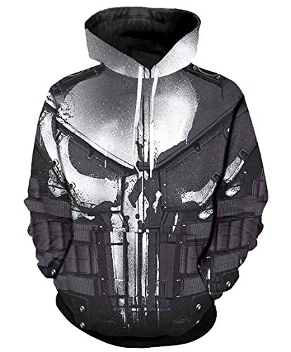 MaRlauy Shop Men Hipster Halloween Punisher Costume Hoodie Pullovers -