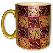 Marsh Tacky Pony in Purple Mustang Wild Horse Pink Pattern Art by Denise Every - Gold Sparkle Coffee Mug with Round Rubber Drink Coaster