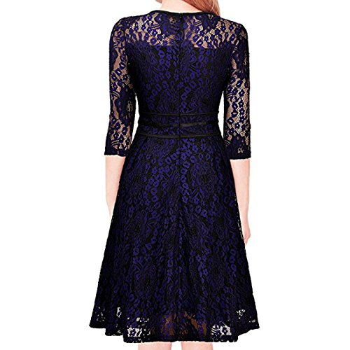 2de76cfaeeba Shengdilu Women's 1950s Short Sleeve Black Lace Flare A-line Dress Swing  Skaters durable service