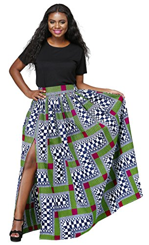 African High Waisted A Line Maxi Dashiki Long Skirts For Wome Floral Print With Pockets (S-3XL) (A, Small)