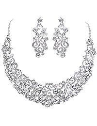 EVER FAITH Bridal Ripple Necklace Earrings Set Austrian Crystal