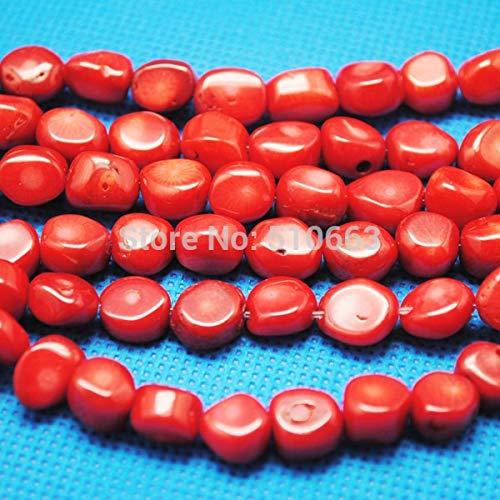Red Chip Coral Bracelet (Calvas 2 Strands=76 Pieces/Lot, Red Coral Big Irregular Chips Shapes,Fit for New Bracelet Making,Coral Bead,Size: 10-12mm)