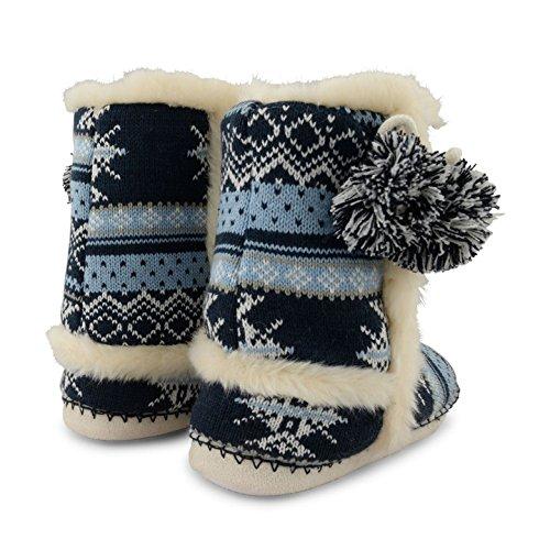 d'esquimau femme bottines tricot en 7814 Dunlop façon Navy pour d'hiver chauds Chaussons 1xYHz