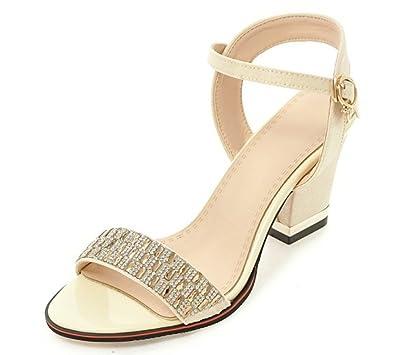 28f4f4408a6 SFNLD Women s Trendy Rhinestone Round Toe Medium Block Heels Buckle Strap Sandals  Beige 4 B(