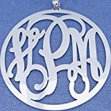 2.5 Inch Extra Large Silver Circle Monogram Pendant Personalized Monogrammed 3 Initials SM47