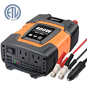 Ampeak 400W Power Inverter DC 12V to 110V AC Car Inverter with 3.1A Dual USB Converter